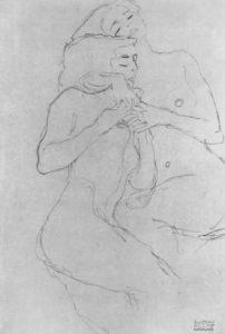 Klimt - 2 sich umarmende junge Mädchen