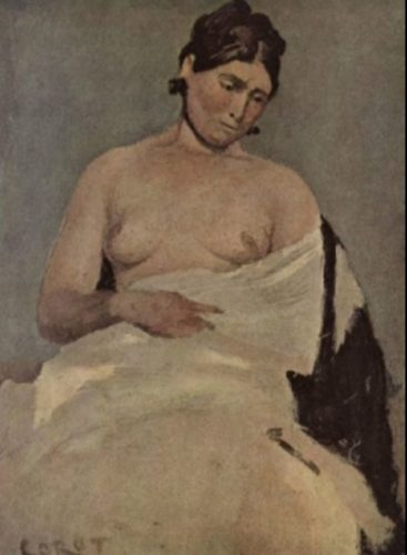 Corot - Sitzende Frau mit entblößter Brust